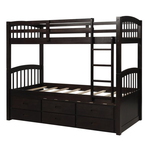 Twin over twin wood bunk bed with trundle and drawers, espresso 7