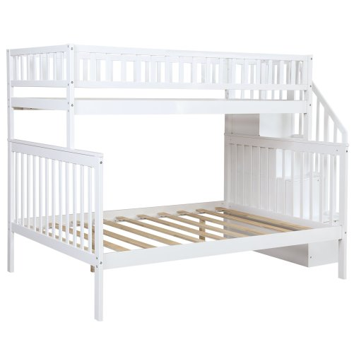 Twin over Full Stairway Bunk Bed with Storage 5