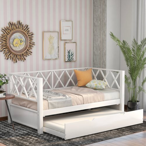 Wood Daybed with Trundle,Twin Size 1