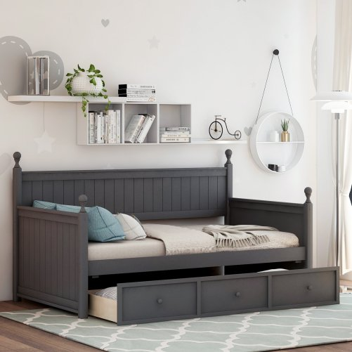 Wood Daybed with Three Drawers ,Twin Size 1