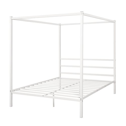 Metal Framed Canopy Platform Bed with Built-in Headboard 7