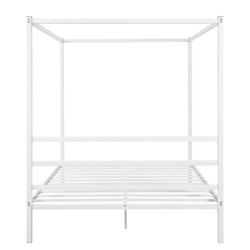 Metal Framed Canopy Platform Bed with Built-in Headboard 8