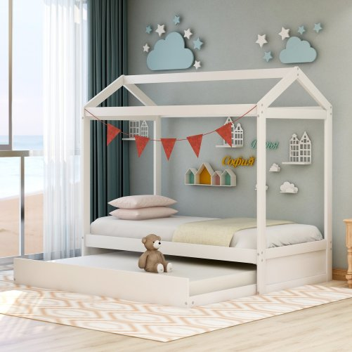 House Bed with Trundle, Can Be Decorated 1