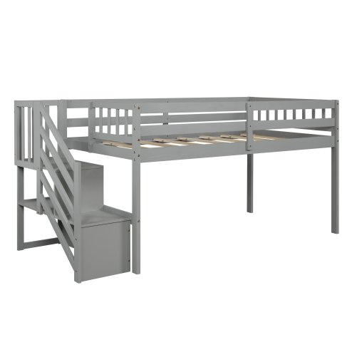 Floor Loft Bed, Ladder with Storage, Twin Size 16