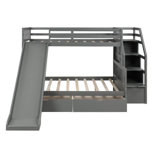 Twin over Full Bunk Bed with Drawers,Storage and Slide 4