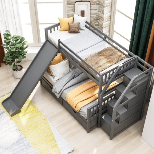 Twin over Full Bunk Bed with Drawers,Storage and Slide 3