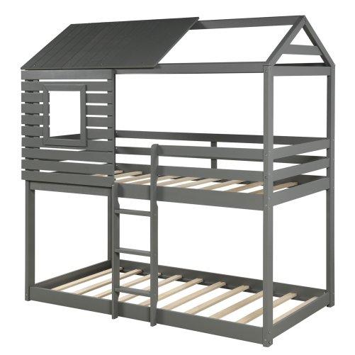 Wood Twin Over Twin Bunk/Loft Bed with Roof 1