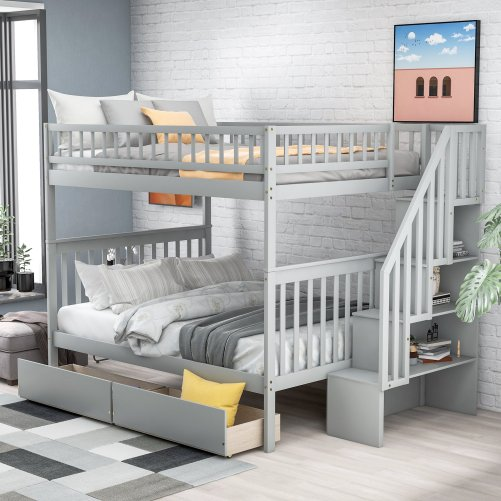 Full over full bunk bed with two drawers and storage 10
