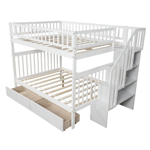 Full over full bunk bed with two drawers and storage 6