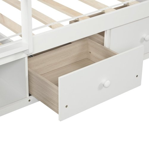 Twin over twin bunk bed, with two drawers and two storage, white 10