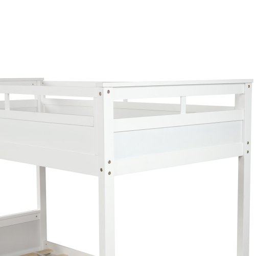 Twin over twin bunk bed, with two drawers and two storage, white 8