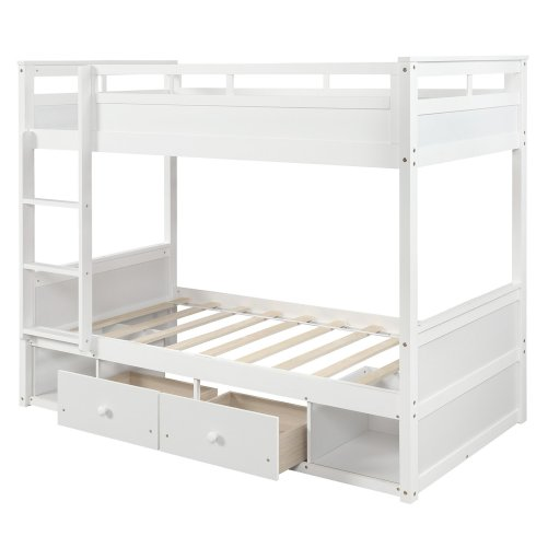 Twin over twin bunk bed, with two drawers and two storage, white 4