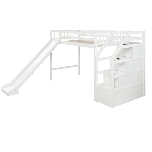 Twin size loft bed with storage and slide, white 7