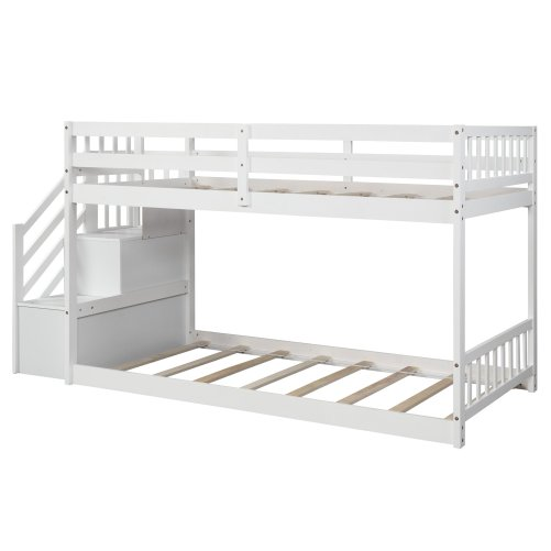 Twin over twin Floor Bunk Bed, Ladder with Storage 6