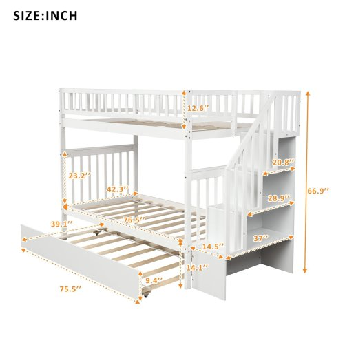 Twin over Twin Bunk Bed, with Trundle and Storage 3