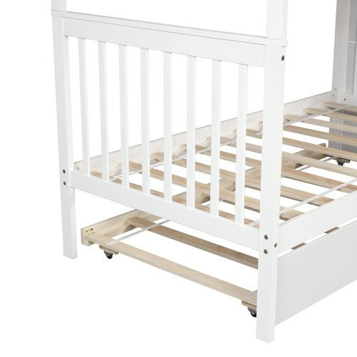 Twin over Twin Bunk Bed, with Trundle and Storage 5