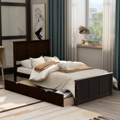 Platform Storage Bed, 2 Drawers With Wheels 1