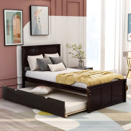 Platform Bed With Twin Size Trundle 1