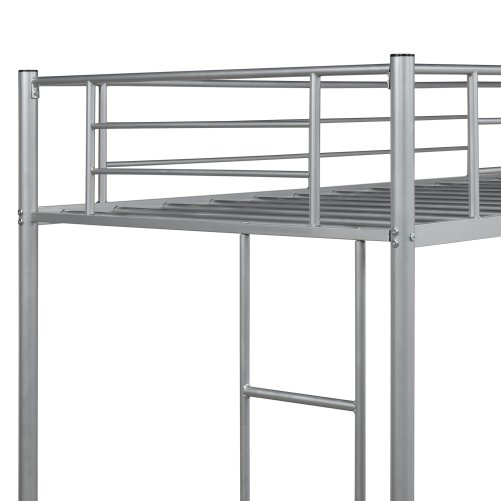 Twin Loft Bed With Sturdy Steel Frame, Guard Rail, Two-side Ladders 7