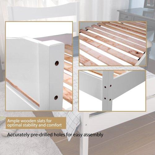 Merax Wood Platform Bed Panel Bed Mattress Foundation Wooden Slat Support Twin Sizewhite