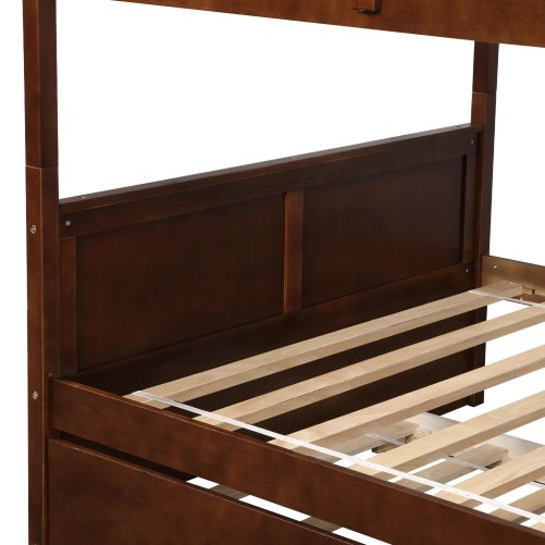 Full Over Full Bunk Bed With Twin Size Trundle, Walnut