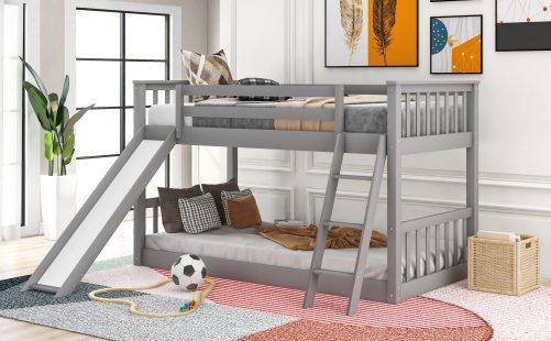 Twin Over Twin Bunk Bed With Slide And Ladder
