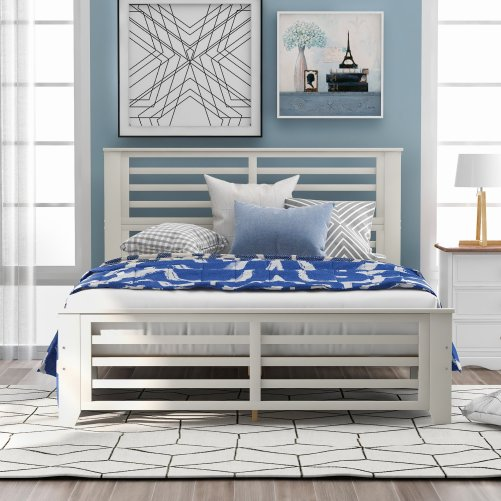 Platform Bed With Horizontal Strip, Hollow Shape, Full Size