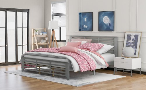 Platform Bed With Horizontal Strip, Hollow Shape, King Size