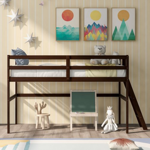 Wooden Twin Size Low Loft Bed With Ladder