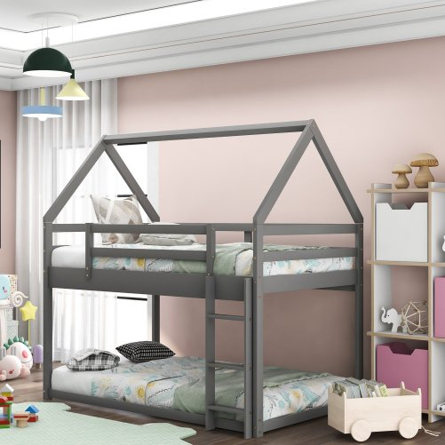 Twin Over Twin Low Bunk Bed, House Bed With Ladder