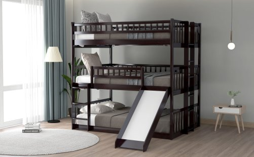 Full-over-Full-over-Full Triple Bunk Bed With Built-in Ladder And Slide