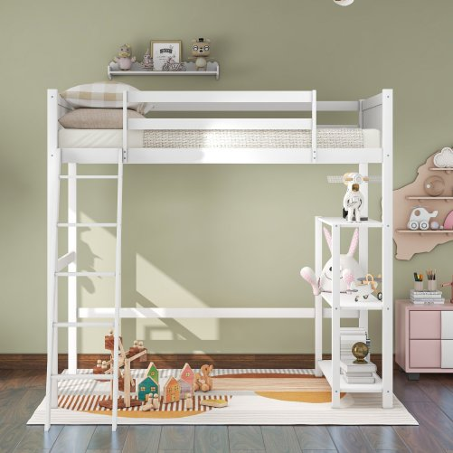 Twin Size Loft Bed With Storage Shelves And Ladder