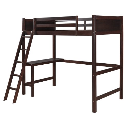 Twin Size Loft Bed with Desk and Ladder