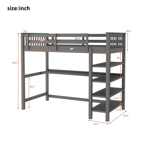 Rubber Wooden Twin Size Loft Bed With Storage Shelves And Under-bed Desk