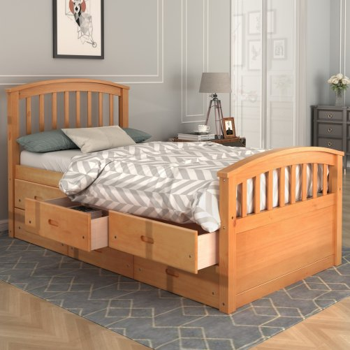 Twin Size Platform Storage Bed Solid Wood Bed With 6 Drawers Oak