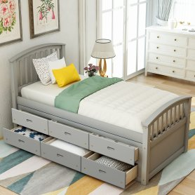 Twin Size Platform Storage Bed Solid Wood Bed With 6 Drawers White
