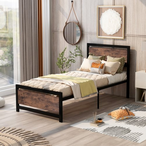 Twin Size Metal And Wood Platform Bed With Headboard And Footboard