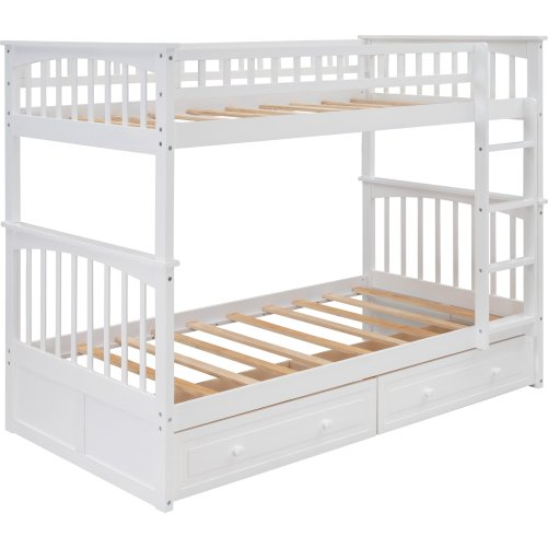 Twin Over Twin Bunk Bed With Drawers, Convertible Beds