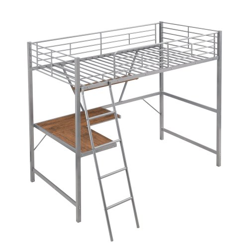 Metal Loft Bed With L-Shaped Desk And Shelf 5