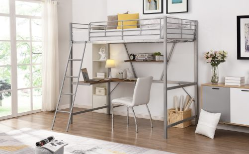 Metal Loft Bed With L-Shaped Desk And Shelf 7
