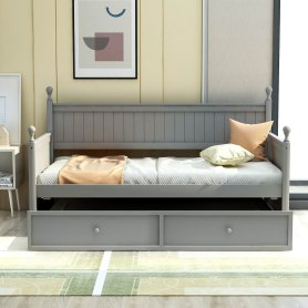 Twin Size Wood Daybed With Twin Size Trundle