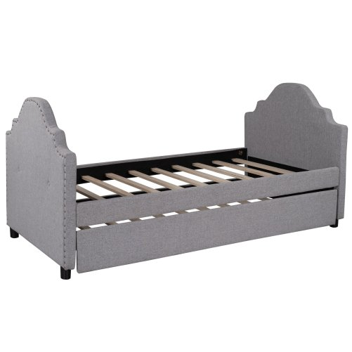 Upholstered Daybed With Trundle, No Box Spring Need, Twin Size