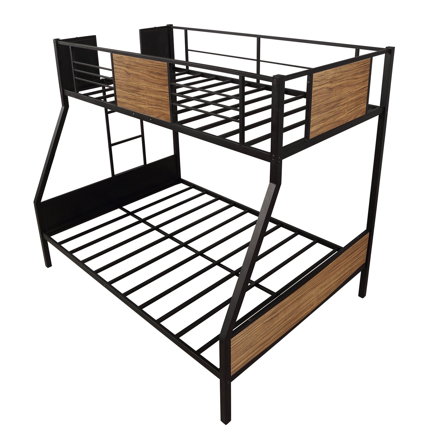Twin Over Full Bunk Bed Modern Style Steel Frame Bunk Bed With Safety Rail Built In Ladder For Bedroom Dorm Boys Girls Adults Cool Toddler Beds