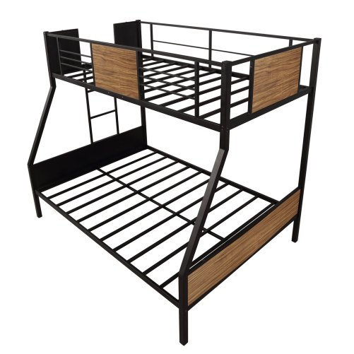 Twin-over-full bunk bed modern style steel frame bunk bed with safety rail, built-in ladder for bedroom, dorm, boys, girls, adults 5