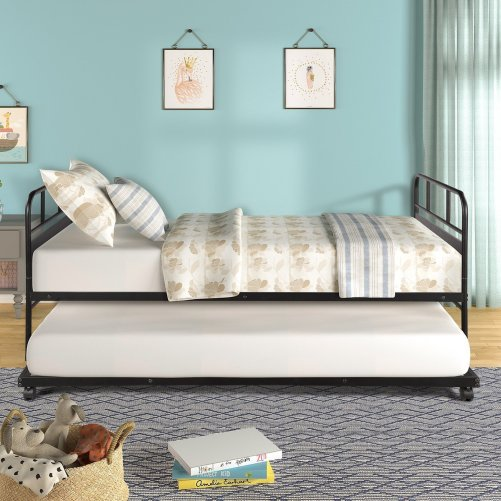 Metal Daybed Platform Bed Frame with Trundle Built-in Casters, Twin Size 4