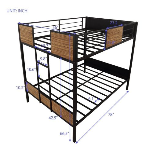 Full-over-full bunk bed modern style steel frame bunk bed with safety rail, built-in ladder for bedroom, dorm, boys, girls, adults 4
