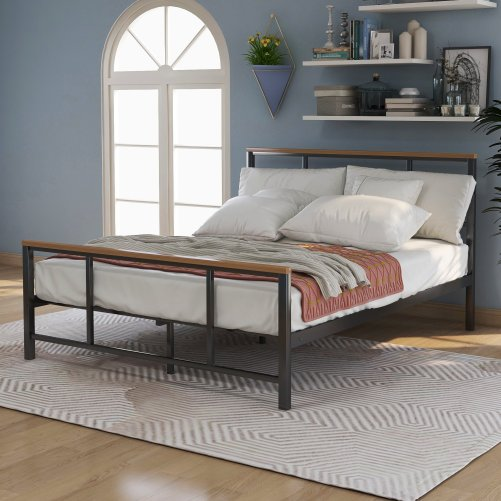 Metal Bed With Wood Decoration(Full Size) 6