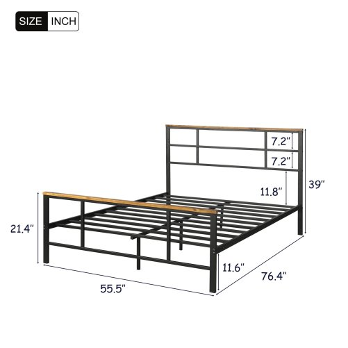 Metal Bed With Wood Decoration(Full Size) 2