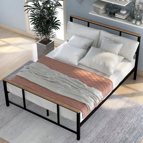 Metal bed with wood decoration(Queen size) 6