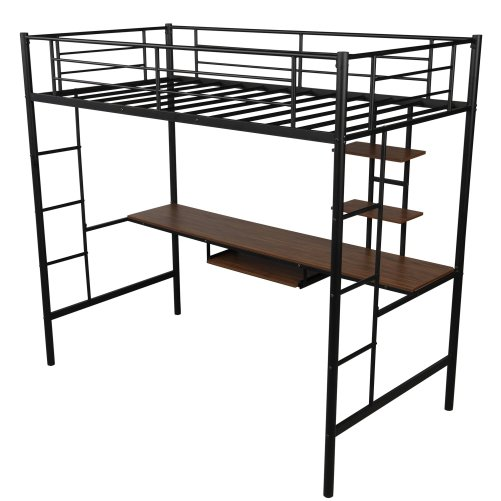 Loft bed with Dsek and Shelf , Space Saving Design 9